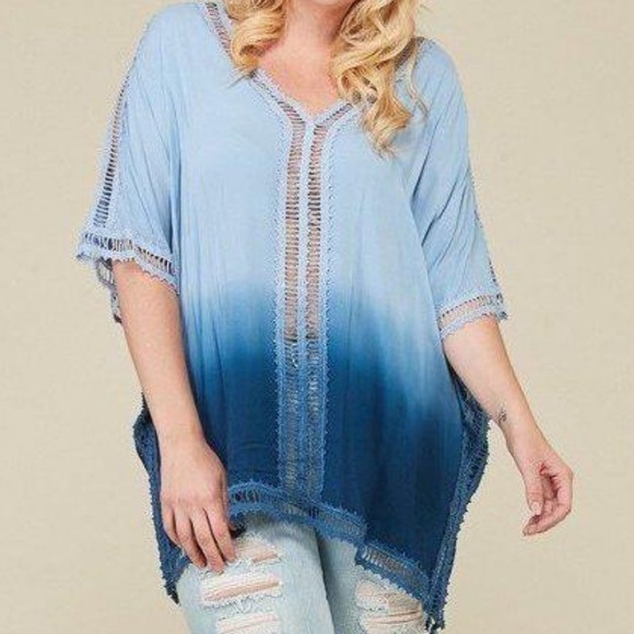 Other - Plus Size Cover-Up Tunic Top - Ombre Dip-Dye Blue